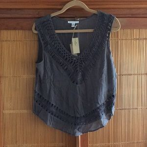 American Eagle Crochet Trim Top NWT L-XL